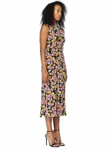 Saloni Çiçekli Sırtı Açık Fırfırlı Midi İpek Elbise Renkli